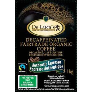 De Luca's Fairtrade Organic Authentic Decaf Espresso 1kg